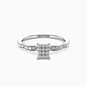 10K White Gold My Life Partner Engagement Side Stone Rings