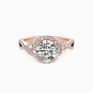 14K Rose Gold A Match Made in Heaven Engagement Halo Rings