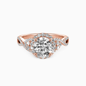 18K Rose Gold A Match Made in Heaven Engagement Halo Rings