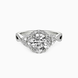 18K White Gold A Match Made in Heaven Engagement Halo Rings