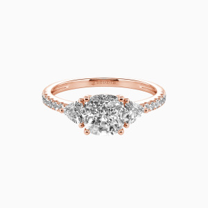 14K Rose Gold The Light of My Life Engagement Three Stone Rings