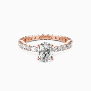 14K Rose Gold Ever Since I Met You Engagement Side Stone Rings