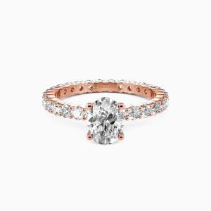 18K Rose Gold Ever Since I Met You Engagement Side Stone Rings