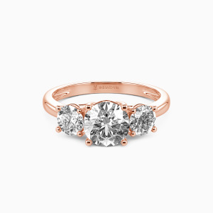 14K Rose Gold Sweet On You Engagement Three Stone Rings