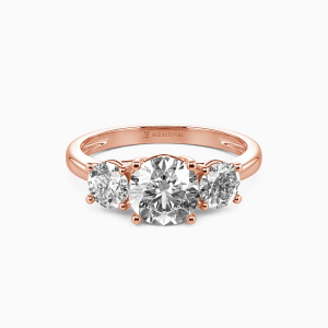 18K Rose Gold Sweet On You Engagement Three Stone Rings