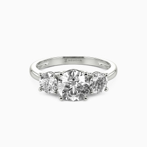 18K White Gold Sweet On You Engagement Three Stone Rings