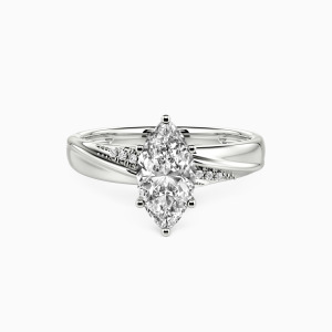 10K White Gold My Forever Love Engagement Side Stone Rings