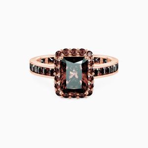 10K Rose Gold Charming Light Engagement Halo Rings