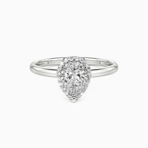 10K White Gold Brave Love Engagement Halo Rings