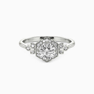 10K White Gold To The Beautiful You Engagement Halo Rings