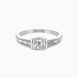 10K White Gold The Long Milky Way Engagement Side Stone Rings
