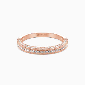 14K Rose Gold You're My World Wedding Classic Bands