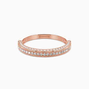 18K Rose Gold You're My World Wedding Classic Bands