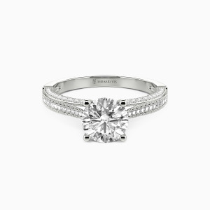 10K White Gold You're My World Engagement Side Stone Rings