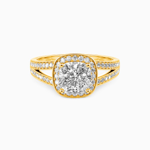 10K Gold Now and Forever Engagement Halo Rings