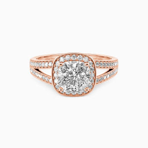 10K Rose Gold Now and Forever Engagement Halo Rings