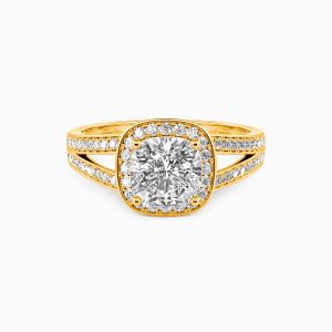 14K Gold Now and Forever Engagement Halo Rings