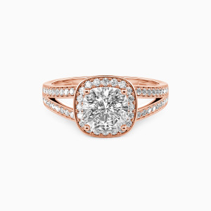 14K Rose Gold Now and Forever Engagement Halo Rings