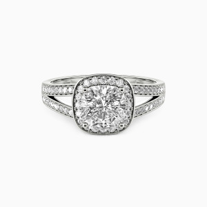 14K White Gold Now and Forever Engagement Halo Rings