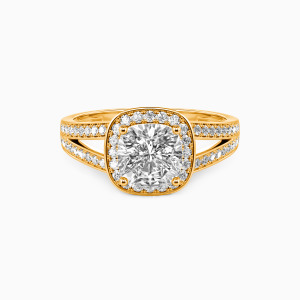18K Gold Now and Forever Engagement Halo Rings