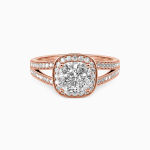 18K Rose Gold Now and Forever Engagement Halo Rings