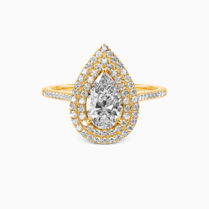 14K Gold You Are The World Engagement Halo Rings