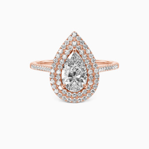 14K Rose Gold You Are The World Engagement Halo Rings