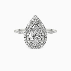 14K White Gold You Are The World Engagement Halo Rings