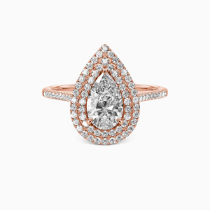 18K Rose Gold You Are The World Engagement Halo Rings