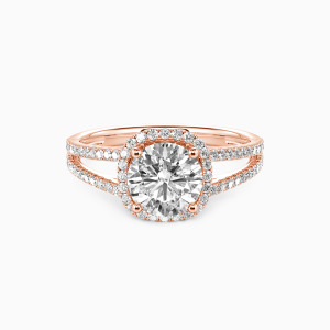 10K Rose Gold My Heart Is Beating For You Engagement Halo Rings
