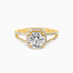 14K Gold My Heart Is Beating For You Engagement Halo Rings