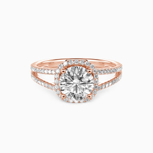 14K Rose Gold My Heart Is Beating For You Engagement Halo Rings