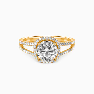 18K Gold My Heart Is Beating For You Engagement Halo Rings