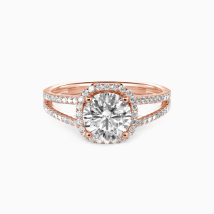 18K Rose Gold My Heart Is Beating For You Engagement Halo Rings
