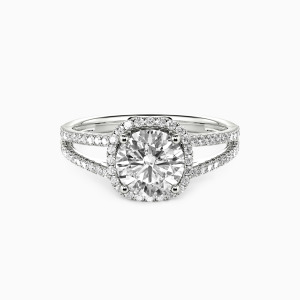 18K White Gold My Heart Is Beating For You Engagement Halo Rings