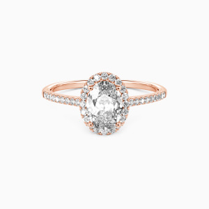 10K Rose Gold You Are My Life Engagement Halo Rings