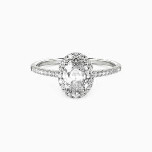 10K White Gold You Are My Life Engagement Halo Rings