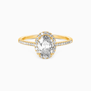 14K Gold You Are My Life Engagement Halo Rings