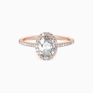14K Rose Gold You Are My Life Engagement Halo Rings