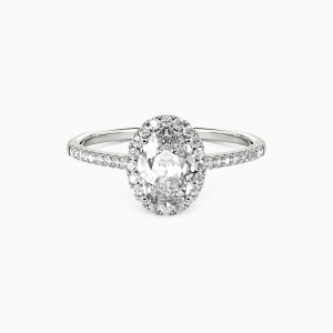 14K White Gold You Are My Life Engagement Halo Rings