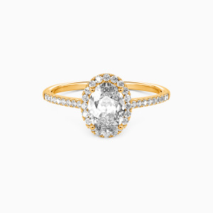 18K Gold You Are My Life Engagement Halo Rings