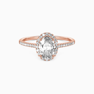 18K Rose Gold You Are My Life Engagement Halo Rings
