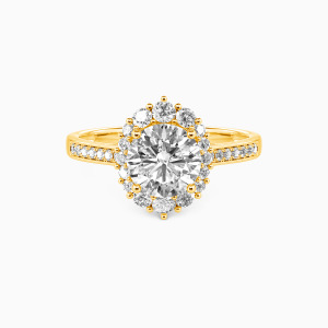 10K Gold For You My Love Engagement Halo Rings