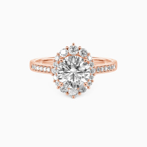 10K Rose Gold For You My Love Engagement Halo Rings