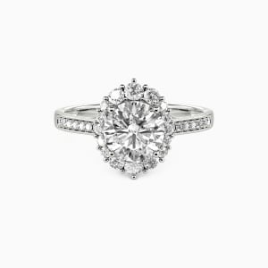 10K White Gold For You My Love Engagement Halo Rings