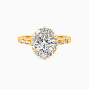14K Gold For You My Love Engagement Halo Rings