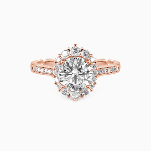 14K Rose Gold For You My Love Engagement Halo Rings