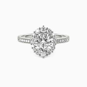 14K White Gold For You My Love Engagement Halo Rings