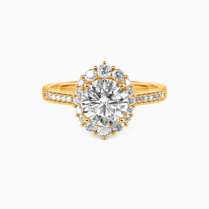18K Gold For You My Love Engagement Halo Rings