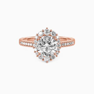 18K Rose Gold For You My Love Engagement Halo Rings